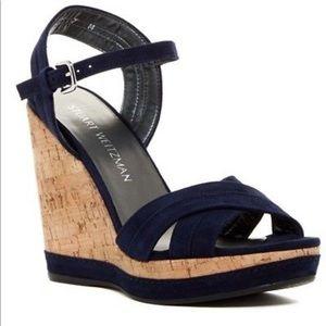 Stuart Weitzman Minky Platform Wedge Sandal Blue